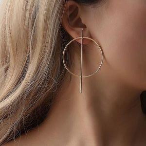 Geometry Metal Round Studs Earrings